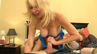 Old blond fuck doll enjoyed steamy ass fuck with young stud when his GF was sleeping