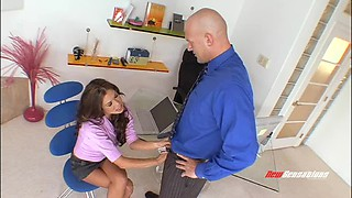 Seriously busty MILF secretary gets fucked by her hung bald boss