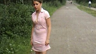 Cute auburn haired teen in pink dress shows all she got from her momma
