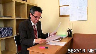 Mature teacher is taking advantage of blameless hotty