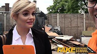 Fake Driving School busty examiner swallows a big load