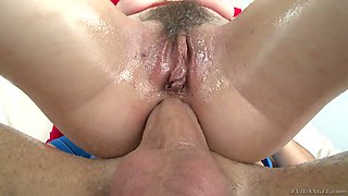 Anal-insane bitch Lily LaBeau takes a huge dick in her closeup anus