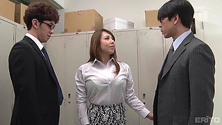 office threesome with brunette japanese cougar