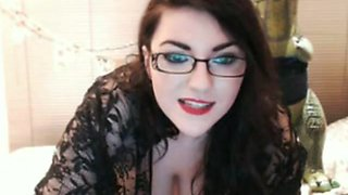 Sultry brunette with enormous juggs teases and masturbates on livecam