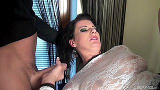Two kinky guys talk a hot brunette babe into fucking with them together