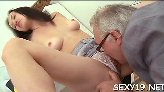 Lucky older professor gets to bang a desperate hot schoolgirl