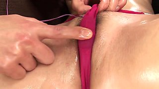 Oiled up hottie gets her hole penetrated with various objects