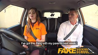 Fake Driving School sexy ginger geek girl in glasses