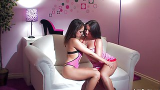 Cute Lesbians In Pink on White Couch