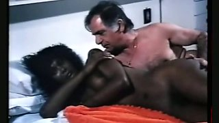 Magnificent all natural ebony babe on the bed fucked by her white boyfriend