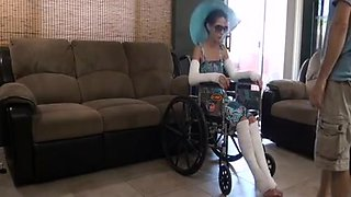 Horny Son Fucks Not Real Mother in Wheelchair