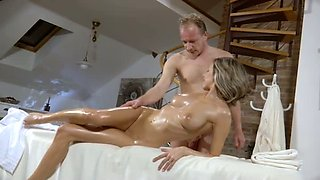 Fervent sexy busty MILF keeps on riding strong cock of her stud