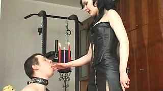 CBT from a leather clad mistress makes him suffer