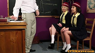 British cfnm schoolgirls get facialized