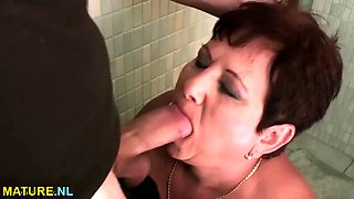 bbw mature bitch gets fucked in a public toilet