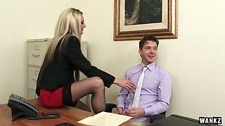 Attractive chick Sindy Lange seduces her boss and gets her muff rammed in the office
