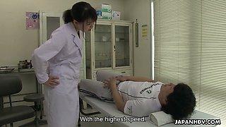 Turned on though shy looking Japanese nurse Sayaka Aishiro gives nice blowjob