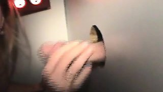 Blonde Amateur Slut Working Her Lips For Free At Glory Hole