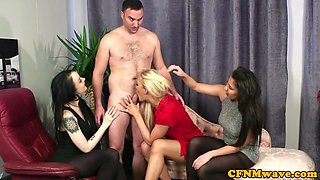 Glamour femdom deepthroats cfnm sub in group