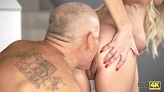 OLD4K. Mature guy fucks his busty mistress when they return at home