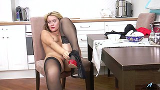 Blond mature housewife Maya Konovalenko is finger fucking closeup pussy