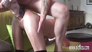 Horny Huge double fist and dildo fucked amateur babe