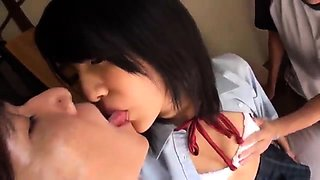 Slutty Oriental college girl has fun with two horny boys