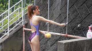 Japanese girl showering in competition swimsuit SOFT