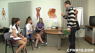 CFNM teens punish their school teacher