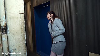 Jeny Smith looses her clothes and sneaks naked in the underground corridors.