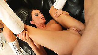 Celia and Maria surrender their fiery pussies to a pair of hung studs