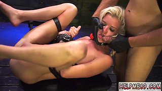 Blonde gets tied up and gagged in this BDSM fucking session