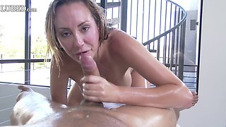 Oiled babe called Brett Rosi looks amazing during the hard pounding