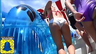 Perfect candid teen ass in white bikini!