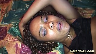 Hot chocolade african babe enjoys her first fuck orgy