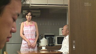 Beautiful housewife in an apron sucking dick and fucking lustily