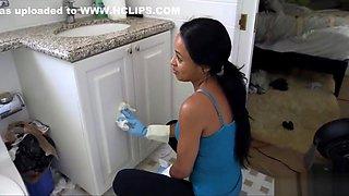 Sexy black maid has huge rack