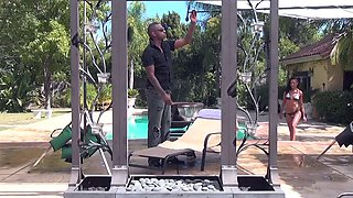Skin Diamond getting messy by the pool