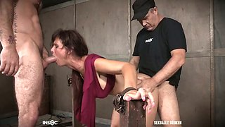 Two kinky dudes fuck nasty busty milf Syren De Mer and punish her holes