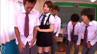 Busty Schoolgirl On Her Knees Giving Blowjobs For 4 Schoolguys In The Classroom