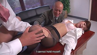 Aihara Miho punished by bosses with a threesome