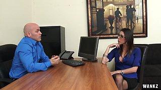 WANKZ- Dava Foxx Blows Her Boss for Job