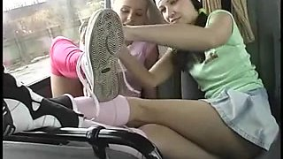 Lesbo Foot Worshiping on Bus