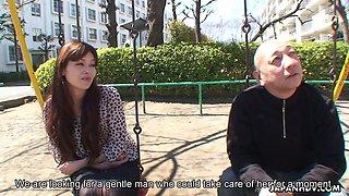 Ugly bald Japanese man fucks lovely looking lady Hitomi Kano