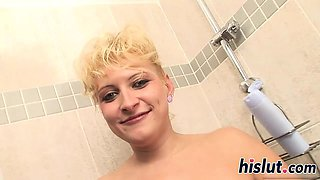 Chubby blonde slut has her twat annihilated