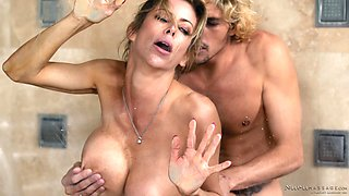 Luscious Alexis Fawx taking a bath with her partner and fucking