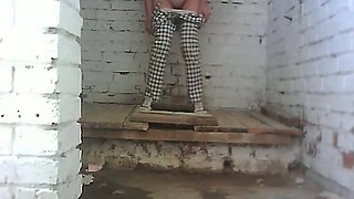 White lady in black and white pants has really freaky holes