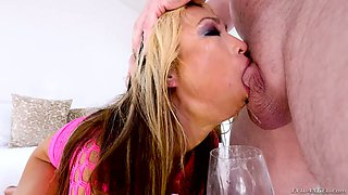 Dirty whore Mia Rider slobbers all over a huge aggressive dick