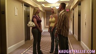 THREESOME STARTS IN HOTEL HALLWAY