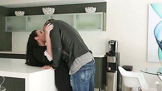 Horny Rocco fucks big titties seductress Angela White right on the kitchen table